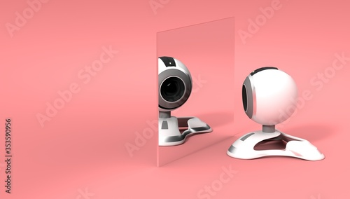 Fotografie, Obraz 3d rendered camera shooting a selfie in the mirror on pink background, conceptua