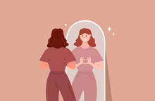 Young Woman Looking Through The Mirror And Smiling. Self Love. Love Yourself. Vector