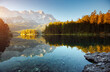 Famous alpine lake Eibsee. Location Garmisch-Partenkirchen, Bavarian alp, Europe.