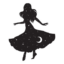 Beautiful Dancing Gypsy Silhouette With Crescent Moon And Stars Isolated. Boho Chic Tattoo, Sticker Or Print Design Vector Illustration.
