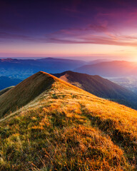 Panel Szklany Góry wonderful sunset in mountain