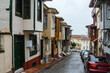 Narrow street in Istanbul's historic district at rainy wheather. Turkey
