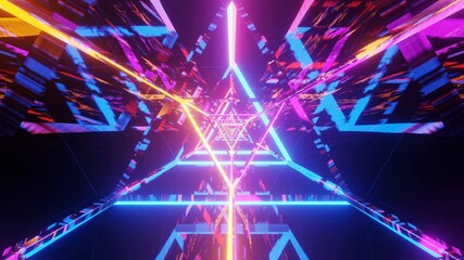 3D rendering of a futuristic illustration with geometric shapes and colorful laser lights