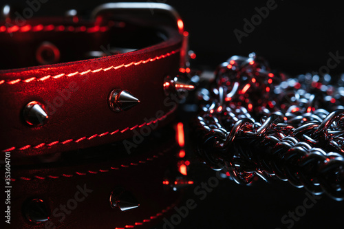 Photo collar and chain elements of the BDSM subculture