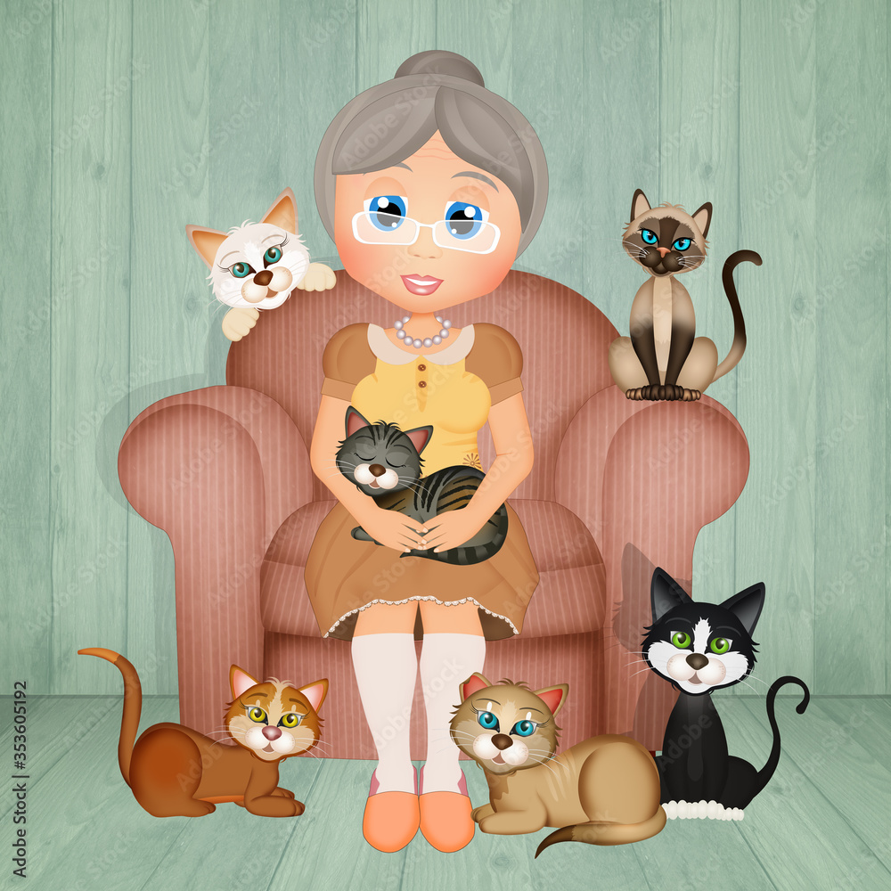 Fototapeta grandmother with many cats