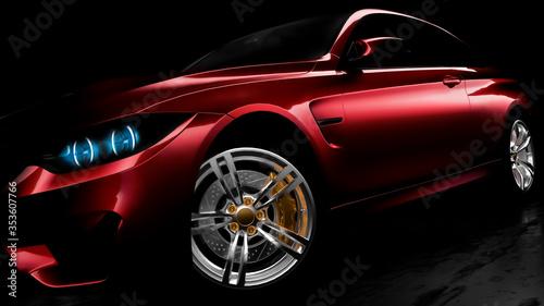 Fototapeta Sports car on black. obraz