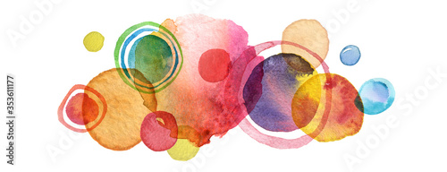 Fototapeta Abstract circle acrylic and watercolor painted background.
