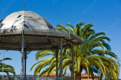dome of the bandstand surrounded by palm trees in Tavira, Algarve / Portugal Wallpaper Mural