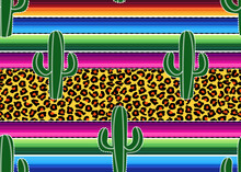 .Green Cacti On The Background Of A Mexican Blanket Stripes And Leopard Texture. Vector Seamless Pattern..Cinco De Mayo Party Decor..