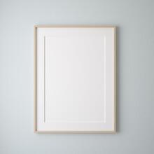 Mockup Poster Frame Close Up On Wall Painted Pastel Blue Color, 3d Render