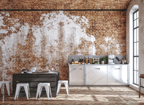 Obraz Kitchen interior in loft, industrial style, 3d render - fototapety do salonu