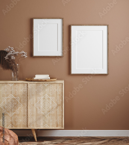 Obraz Poster mockup in cozy home interior, 3d render - fototapety do salonu