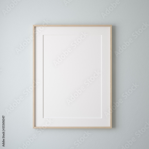 Fototapeta Mockup poster frame close up on wall painted pastel blue color, 3d render obraz