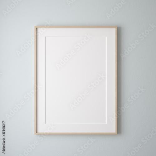 Obraz Mockup poster frame close up on wall painted pastel blue color, 3d render - fototapety do salonu