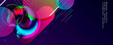 Blue Dark Retro Futuristic Neon Abstraction Background. Graphic Elements Different Colors Line Shapes And Round Shapes Live Data Style