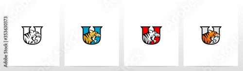 Tiger On Letter Logo Design U Wallpaper Mural