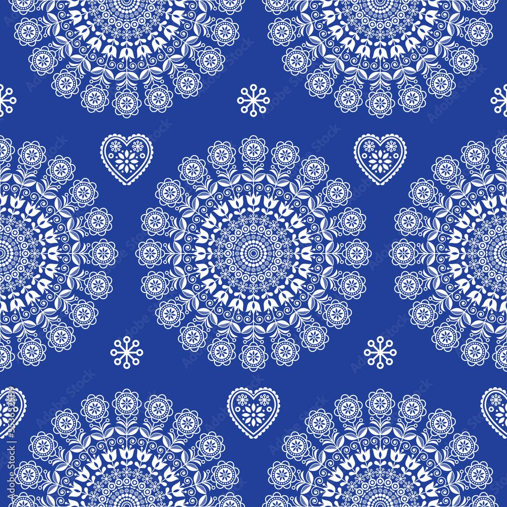 Seamless Scandinavian folk art vector mandala with flowers, floral repetitve ornament, Nordic design in white on navy blue