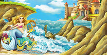 Cartoon Scene With Mermaid Pri...
