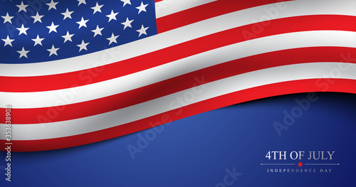 Obraz 4th of July USA independence day celebration banner with 3d american flag vector template - fototapety do salonu