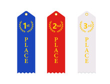 1st 2nd 3rd Place Ribbon Icon Set. Clipart Image Isolated On White Background