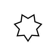 7 Point Star Outline Icon. Cli...