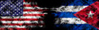 American flag and Cuban flag in smoke shape on black background. Concept of world conflict and war. America VS Cuba business metaphor. Dollar Pesos exchange currency, international commercial tension