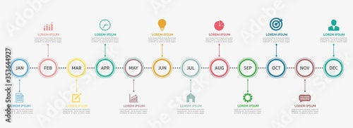 Fotografering Timeline for 12 months, Infographic template for business.