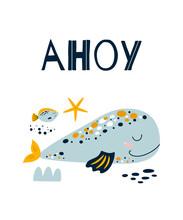 Ahoy Boy Cute Blue Whale Poste...
