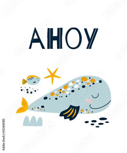 Ahoy boy Cute blue whale poster Canvas Print