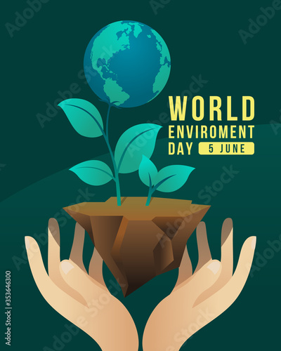 Obraz world environment day banner with hand hold care globe tree on earth ground vector design - fototapety do salonu
