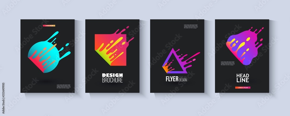 Fototapeta Template set with colorful fluid geometric shapes splashing in motion flat style