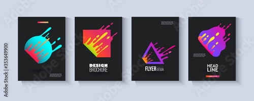 Fotografía Template set with colorful fluid geometric shapes splashing in motion flat style