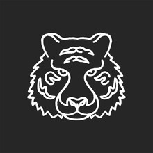 Bengal Tiger Chalk White Icon On Black Background. Panthera Tigris. National Indian Animal. Symbol Of Power And Strength. Extant Big Cat Species. Lord Of The Jungle. Isolated Vector Chalkboard