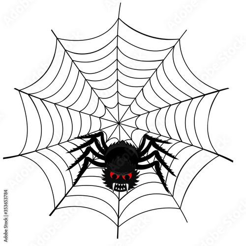 Photo Vector illustration of a spider web with a scary spider