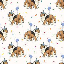 Hand Drawn Cute Rough Collie Breed Dog With Party Hat Seamless Vector Pattern. Purebred Pedigree Puppy Celebration Background. Dog Lover Sheepdog Pet All Over Print. Kennel Pooch. EPS 10.