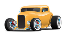 Classic American Custom 32 Vintage Hotrod Car, Cool Yellow Paint, Chopped Roof, Whitewall Tires On Chrome Rims, Low Profile, Isolated Vector Illustration