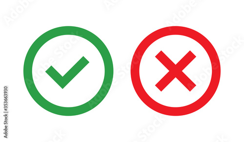 Fototapety, obrazy: Flat vector icon. Green check mark and red cross outline icons.