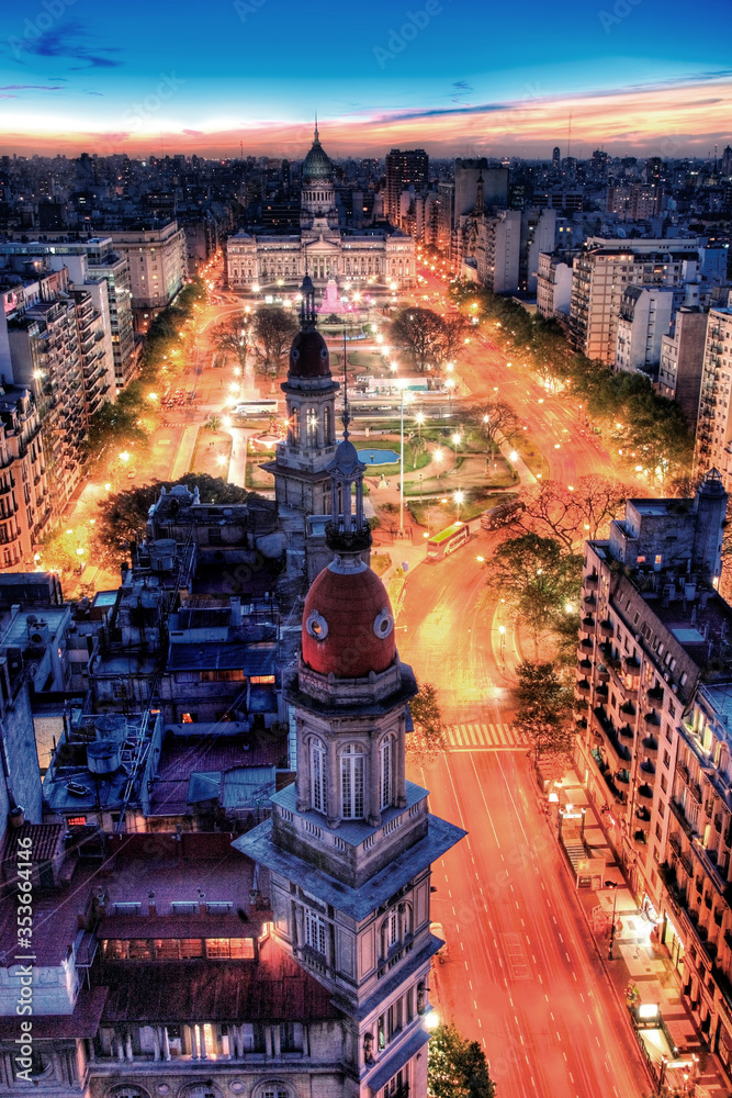 Fototapeta Aerial view of Argentina Parliament at Twilight, with towers at foreground. Buenos Aires, Argentina. - obraz na płótnie