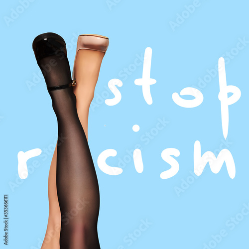 Multiracial women legs on blue background Canvas Print