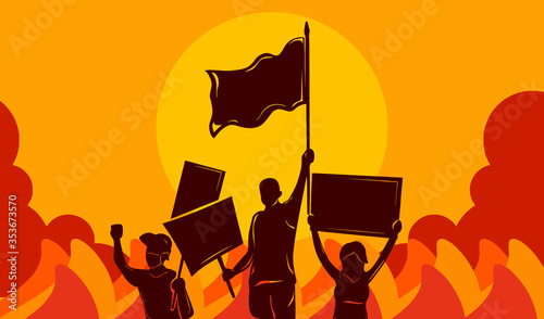 Vector illustration of People Protesting and demonstrate to bring justice with h Wallpaper Mural