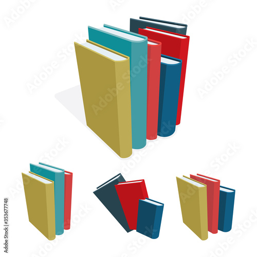 Fotografija Books stack vector illustration set