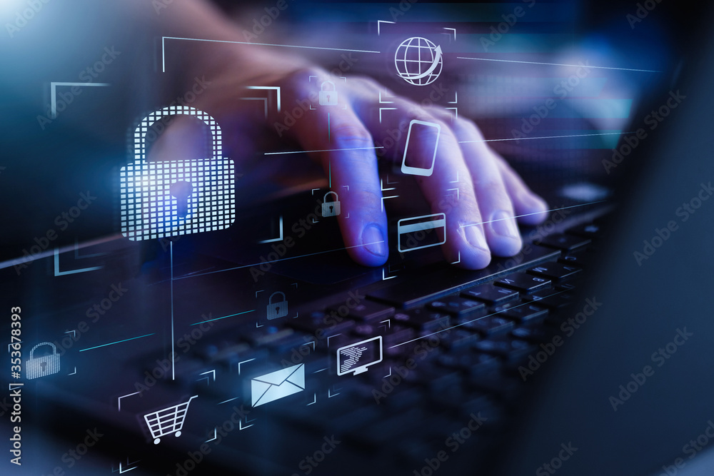 Fototapeta Data protection and secure online payments. Cyber internet security technologies and data encryption . Closeup view of man`s hand using laptop with virtual digital screen with icon of lock on it.