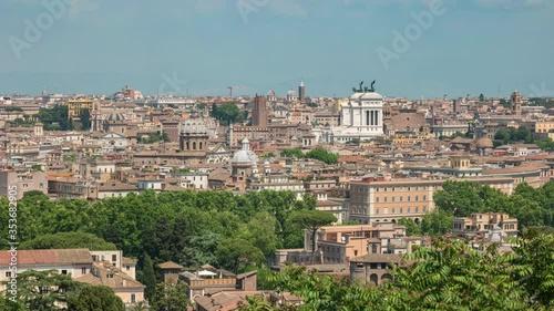 Fotografía Rome Italy time lapse 4K, high angle view city skyline timelapse