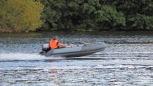 Grey Inflatable Outboard Motor...