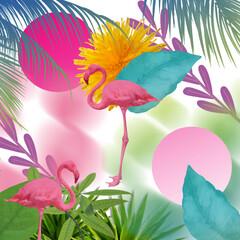 Panel Szklany Do pokoju dziewczyny tropical flamingo