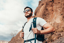 Young Backpacker Hiking In A Semi-arid Region Of Brazil Known As Caatinga