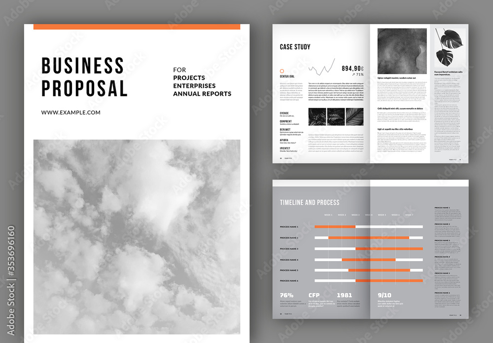 Fototapeta Business Proposal Layout with Orange Accents