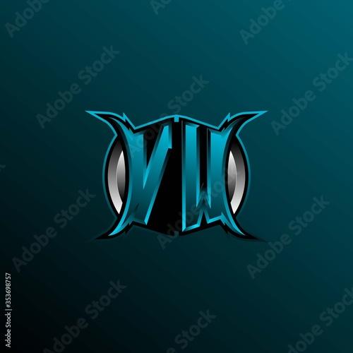Fotografie, Obraz Initial VW logo design, Initial VW logo design with Circle style, Logo for game, esport, community or business