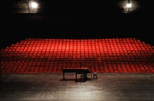 Empty Concert Hall Or Theater Seats And Piano On Stage