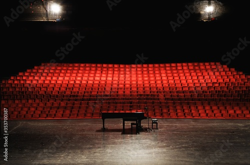 Obraz Empty concert hall or theater seats and piano on stage - fototapety do salonu